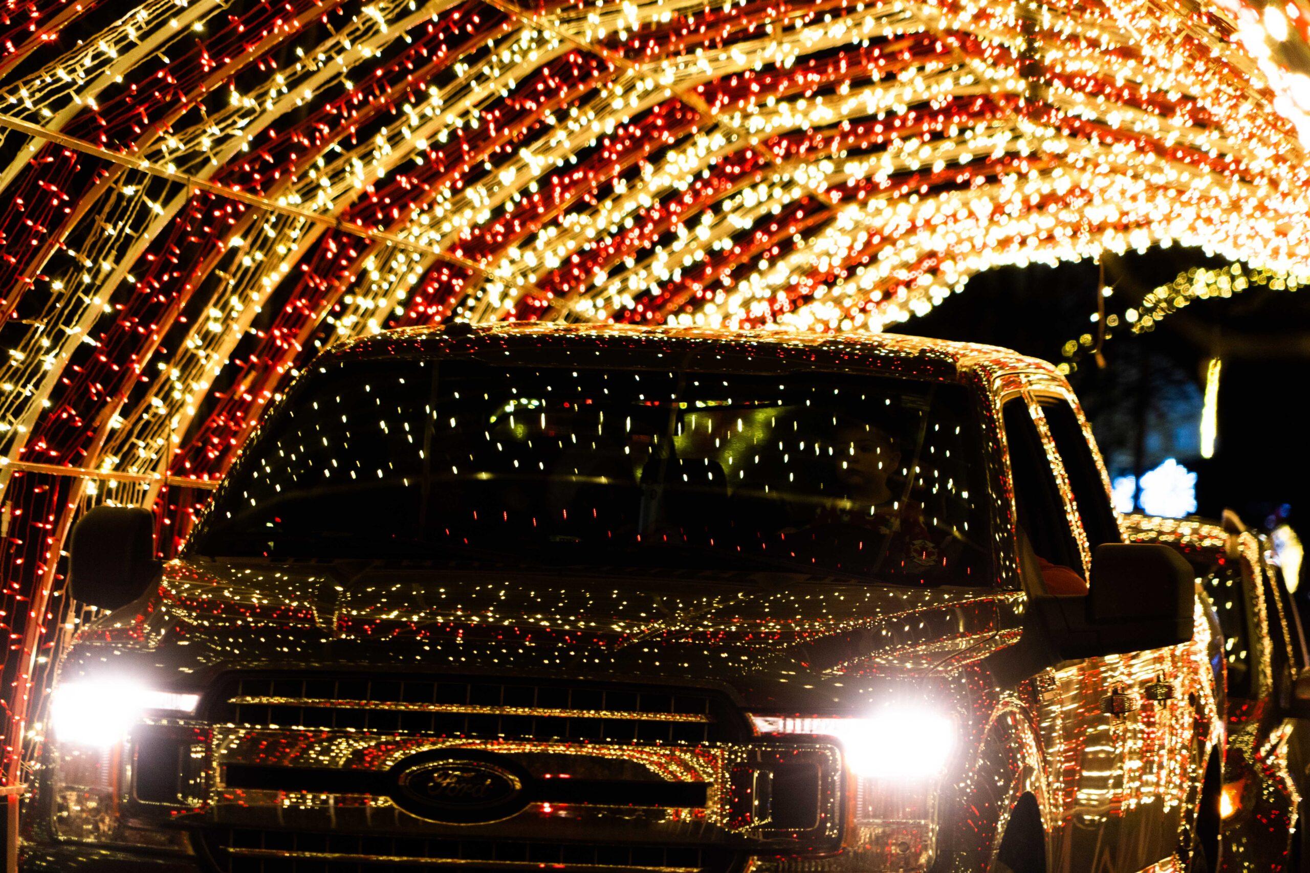 car going through a light tunnel