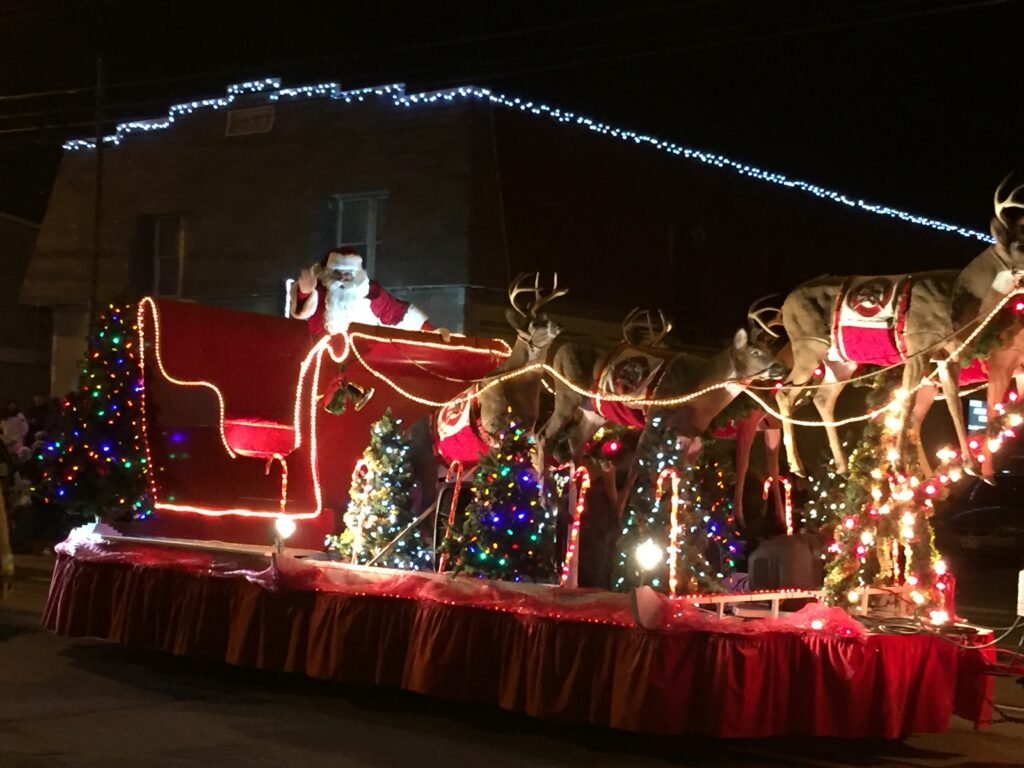Santa on his sleigh, with the reindeer, all lit up. Source: http://www.ottawa-kids.com/wp-content/uploads/sites/8/2017/11/IMG_1244.jpg