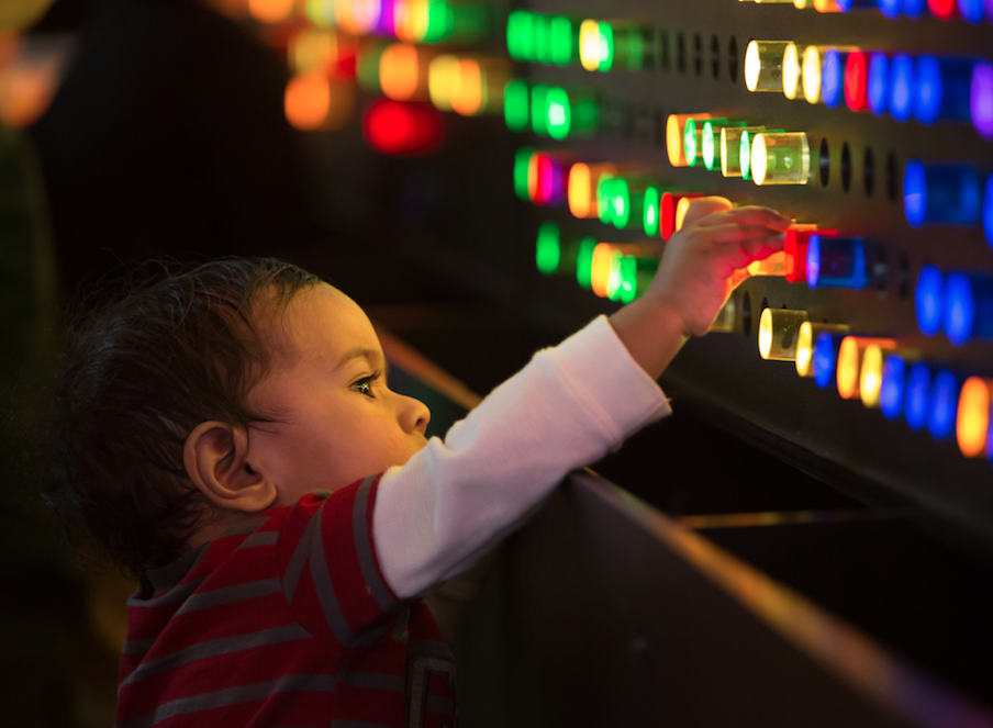 Kid playing with lights